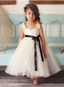 A-Line Square Neck White Tulle Flower Girl Dress with Sash