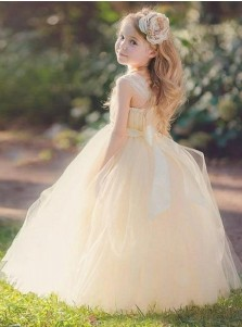 Ball Gown Square Neck Light Champagne Tulle Flower Girl Dress with Flower Sash