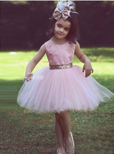 A-Line Round Neck Pink Tulle Flower Girl Dress with Lace Appliques