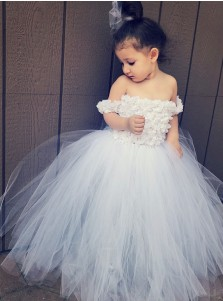 A-Line Off-the-Shoulder White Tulle Flower Girl Dress with Flowers