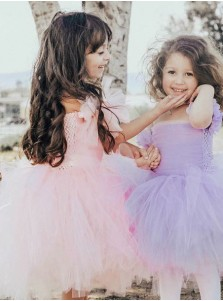 Cute Ball Gown Pink Tulle Flower Girl Dress with Ruffles
