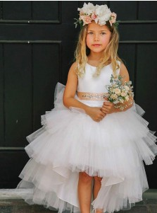 A-Line Asymmetry Train White Tulle Flower Girl Dress with Beading