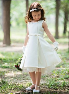 A-Line Round Neck Knee Length Satin Flower Dress with Sash