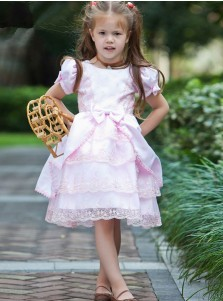 Round Neck Tiered Pink Flower Girl Dress with Lace Bownote