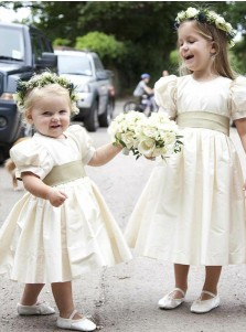 A-Line Round Neck Puffed Sleeve Ivory Satin Flower Girl Dress