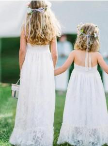 A-Line Halter Sleeveless Long White Lace Flower Girl Dress