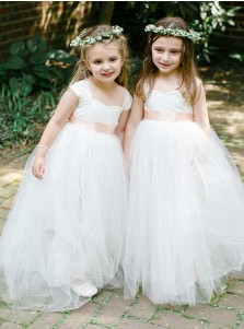 A-Line Square Neck Long White Tulle Flower Girl Dress with Sash