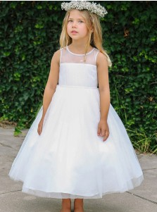 A-Line Round Neck Long White Tulle Flower Girl Dress with Beading