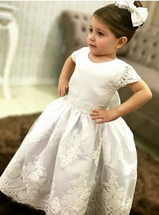 Ball Gown Round Neck White Satin Flower Girl Dress with Appliques Beading