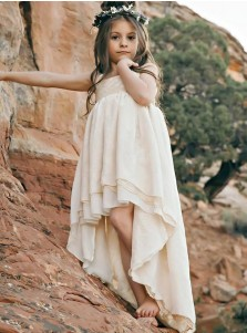 A-Line Round Neck High Low Ivory Chiffon Flower Girl Dress with Lace