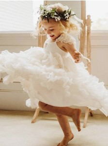 A-Line Square Neck White Chiffon Flower Girl Dress with Lace Beading