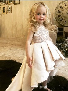 A-Line Round Neck High Low Champagne Satin Flower Girl Dress with Lace