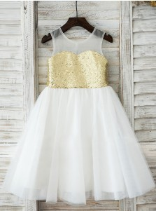 A-Line Jewel White Flower Girl Dress with Gold Sequins