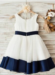 A-Line Crew Neck White Flower Girl Dress with Navy Blue Bow