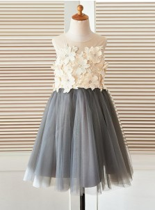 A-Line Jewel Grey Flower Girl Dress with Flowers
