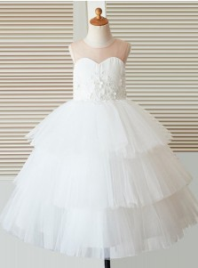 A-Line Jewel White Tired Flower Girl Dress with Appliques