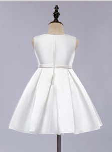 A-Line Jewel White Satin Flower Girl Dress with Bow