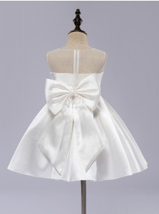 A-Line Jewel White Satin Flower Girl Dress with Bows