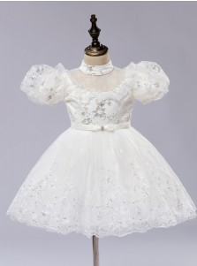 A-Line Scoop Puff Sleeves Flower Girl Dress with Sequins