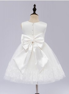 A-Line Jewel White Flower Girl Dress with Appliques Bow