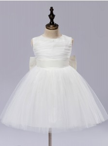 A-Line Jewel Ivory Flower Girl Dress with Flower Bow