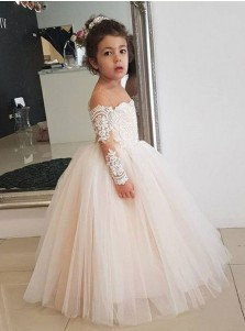 A-Line Round Neck Light Champagne Tulle Flower Girl Dress with Long Sleeves Appliques