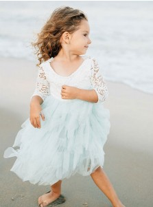 A-Line Round Neck Mid-Calf Sage Flower Girl Dress with 3/4 Sleeves