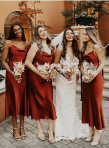 A-Line V-Neck Sleeveless Tea-Length Bridesmaid Dress