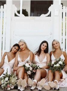 Champagne A-Line V-Neck Sleeveless Sweep Train Bridesmaid Dress