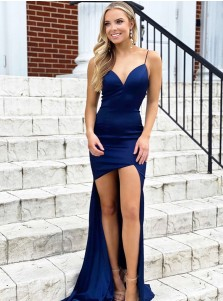 Blue Sheath Satin Prom Dress