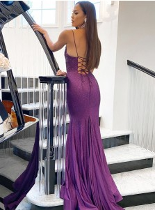 Purple Sequins Satin Prom Dress