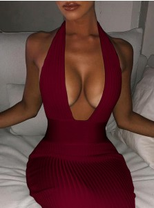 Deep V neck Tight Burgundy Women's Dress