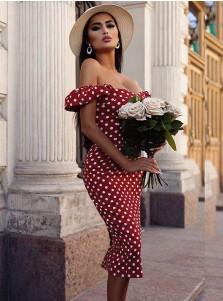 Red Off the Shoulder Vintage Dress