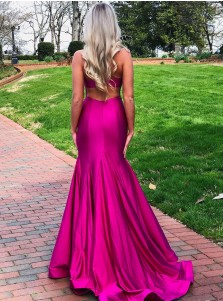 Pink Split Long Prom Dress