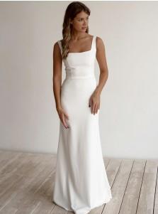 White A-Line Sleeveless Floor-Length Satin Zipper-up Wedding Dress with Bateau Neck