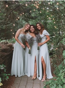 Blue A-Line Sleeveless Long Bridesmaid Dress With Split