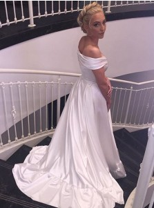 Simple A-line Off-the-shoulder White Long Wedding Dress with Train