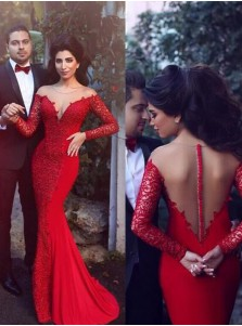 Mermaid Spandex Long Sleeves Illusion Back Red Prom Dress with Lace