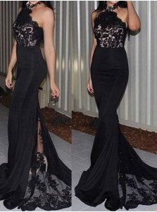 Stunning Halter Mermaid Court Train Black Bridesmaid Dress with Lace