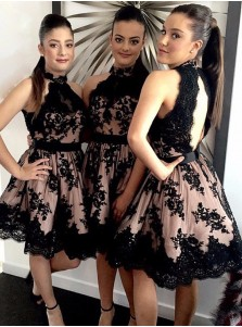 Saucy Halter Pearl Pink Open Back Bridesmaid Dress with Black Lace Sash