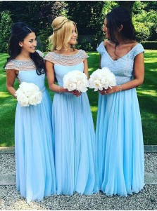 A-Line Boat Neck Floor-Length Cap Sleeves Blue Chiffon Bridesmaid Dress with Pearls