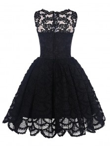 A-Line Bateau Sleeveless Short Black Lace Homecoming Dress