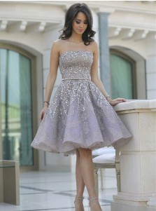 A-Line Strapless Lilac Lace Homecoming Prom Dress with Beading