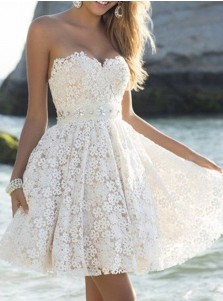 A-Line Sweetheart Short Ivory Lace Homecoming Cocktail Dress