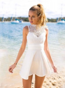 A-Line Jewel Sleeveless Short Open Back White Homecoming Dress with Lace