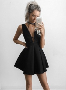 A-Line Deep V-Neck Short Cut Out Black Satin Homecoming Dress
