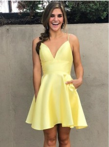 A-Line V-Neck Spaghetti Straps Satin Homecoming Dress