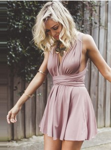 7d94e48f077d0 ... A-Line Deep V-Neck Criss-Cross Straps Short Blush Stretch Satin  Homecoming