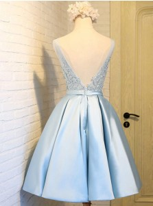 A-Line V-Neck Short Backless Blue Satin Homecoming Dress with Appliques