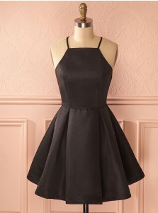 A-Line Square Neck Short Satin Black Homecoming Dress with Pleats